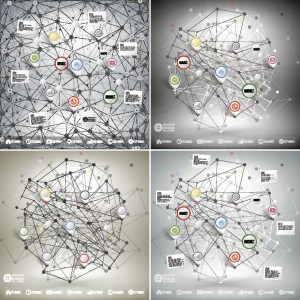 Infographic networks with pointer marks for business, templates vector